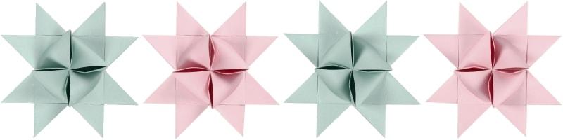Fröbelsterne Set 3D ViviGade Seidenmatt Mint / Rosé - Alle Stern Motive