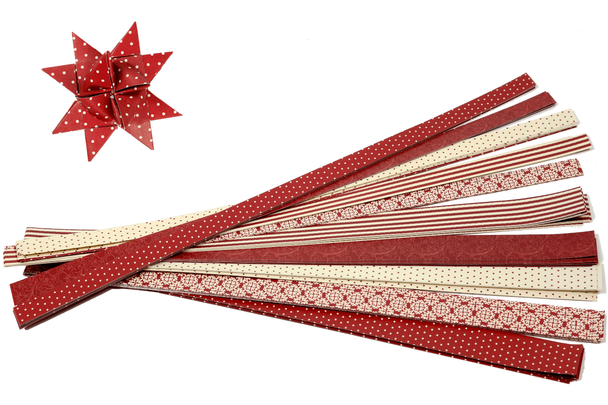 Fröbelsterne Indoor in vielen Farben und Mustern