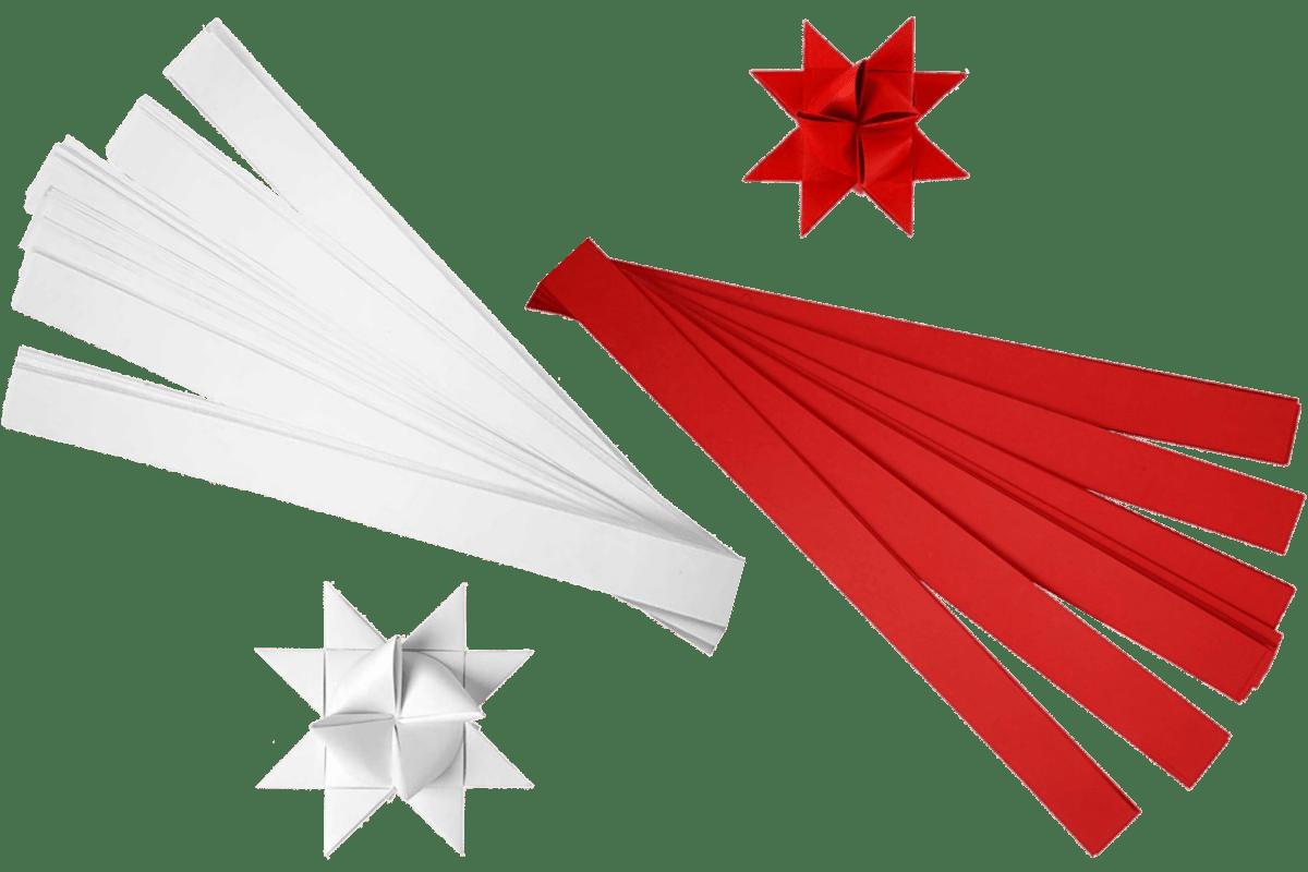 Fröbelsterne Indor klassisch weiß & rot in verschiedenen Breiten