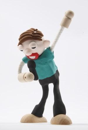 Beipiel: Holzfiguren Sänger mit Knete geformt