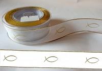 Organza Band 40mm Gold/Weiß