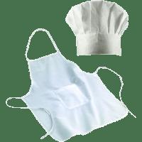 Kinderkochmütze & Kochschürze weiß 60x50 cm (bis ca 1,50 m Körpergröße)
