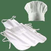 Kinderkochmütze & Kochschürze weiß 60x90 cm (ab 1,50 m Körpergröße)