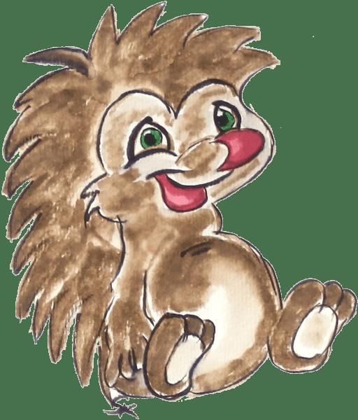 Motiv Igel kindlich gezeichnet mit Pinselstiften & Wassertankpinsel