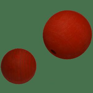 Holzkugel 100% Buchenholz rot lasiert