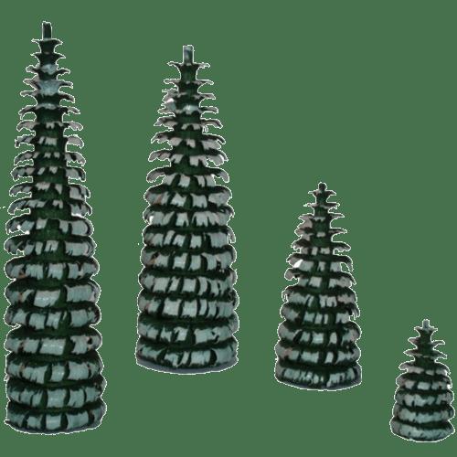 Spanbäume grün beschneit - Dekoration für Pyramiden
